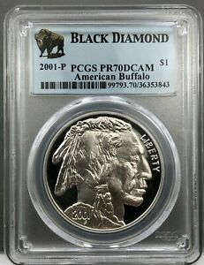 2001-P American Buffalo Silver Dollar ~ Black Diamond Label ~ PCGS PR70DCAM