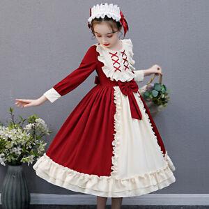 Girls Lolita Bowknot Ruffle Dress Petticoat Hairband Set Kawaii Princess Cosplay