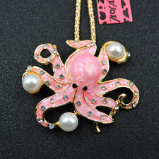 Betsey Johnson Charm Pink Crystal Pearl Octopus Enamel Pendant Chain Necklace