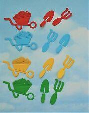 Die Cut Garden tools  wheelbarrow fork, spade, mixed colour, 4 packs, toppers,