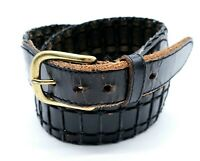 Men's Black Thick Stitched Full Grain Cowhide Leather Belt 38
