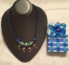 Dolphin Necklace with Gift Box Blue Leather European Beads Tibetan Silver