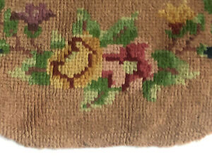 VINTAGE RUG Shabby *PINK Floral Flowers Blue Mauve ANTIQUE Wool CHIC Half Moon