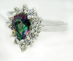 MYSTIC TOPAZ 1.15 Cts &  WHITE SAPPHIRE SILVER PLATED * NWT * Size 7.25