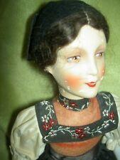 Lovely signed, antique composition & cloth Rudolf Leschhorn, Swiss boudoir doll