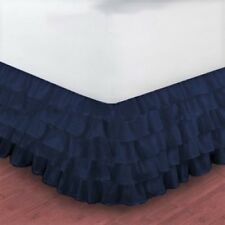 """NEW 1PC SOLID PLAIN BED DRESSING RUFFLE SKIRT 20"""" INCH DROP 5 LAYERED IN 4 SIZES"""
