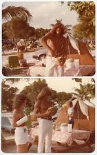 Handsome Shirtless Long Hair Muscular Man Opens Coconur 2 vtg 1980s Photos