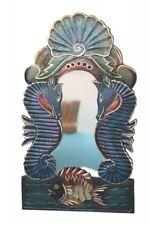 Wandspiegel Holzspiegel maritim Muschel Seepferd Unterwasser 40cm x 23cm