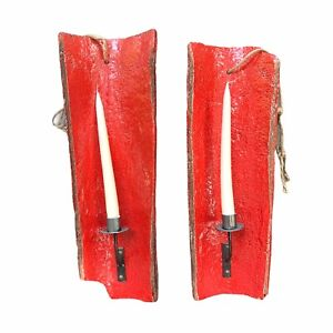 Anthropologie terracota tile sconces red candle holder rustic home decor 2 Piece