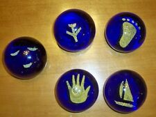 Lot of 5 glass paper weights foot hand boat airplane smiley face blue