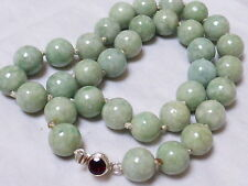 CHINESE NATURAL JADE 14mm BEAD NECKLACE STERLING CLASP, 146 grams