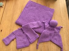 Hand Knitted new baby set, mauve, blanket, cardigan and toy