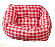 Dog / Cat Bed Red Checked, Dolls House Miniature, Pets