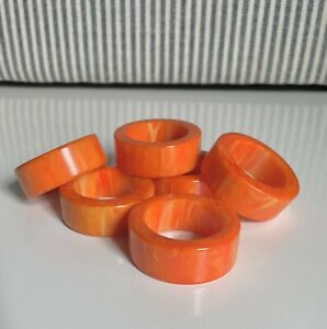 Set Of 6 Vintage Bakelite Napkin Rings Orange Yellow Swirl Tangerine