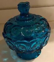 "L E Smith Colonial Blue Moon & Stars Pattern Glass 8 1/2"" Covered Lidded Compote"