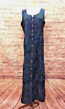 April Cornell Women's Size M  Blue Floral Denim Long Dress Button Front Modest