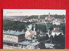 Farbkarte - Landsberg am Lech - gel 1914 - Totale mit Bahnhof unten    m