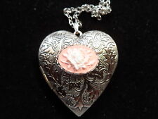 ANTIQUE SILVER ROSE CAMEO HEART LOCKET WHITE ON PINK