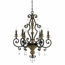 Elstead Lighting, Quoizel 6-Light Candle-Style Chandelier - Antique Gold Bronze