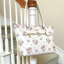 New Coach Gallery Rose Bouquet Floral Print Tote Bag 91023 Chalk Multi