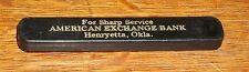 VTG HENRYETTA OKLAHOMA AMERICAN HERITAGE BANK SLIDE POCKET KNIFE ADVERTISEMENT