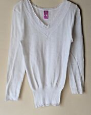 NEW LADIES LONG SLEEVE V NECKLINE WITH LACE THERMAL UNDERWEAR VEST *SNOWDROP*