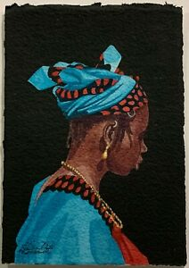 CONTEMPORARY AFRICAN ARTIST Signed Portrait Painting GIRL IN TRADITIONAL DRESS