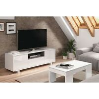 Mueble Zaida Comedor Tv Moderno Color Blanco Brillo Y Ceniza, Dimensiones 150x47