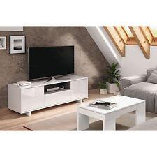 Mueble Zaida Comedor Tv Moderno Color Blanco Brillo Y Ceniza, Dimensiones 150x47