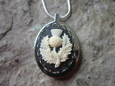 STAINLESS STEEL SCOTTISH THISTLE CAMEO URN NECKLACE - MOURNING, ASHES, HAIR
