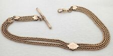 """ANTIQUE 12"""" GOLD FILLED DOUBLE STRAND POCKET WATCH CHAIN"""