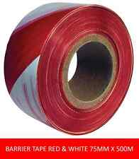 BOXED NON-ADHESIVE RED & WHITE STRIPED BARRIER TAPE  75MM X 500M UNIT QTY 1