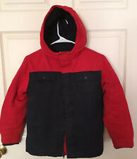EUC Gymboree Boys Navy Blue and Red Winter Jacket Size L Hooded Fleece Lined