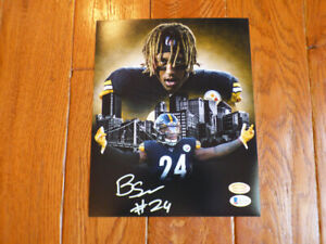 Benny Snell Autographed Signed Steelers Custom Photo 8x10 Beckett