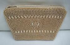Vintage Champagne Faux Pearl and Beaded Small Evening Bag Purse Made in Japan