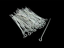 100 Pcs -  35mm Silver Plated Eye Pins Jewellery Craft Findings FREE UK P+P i139
