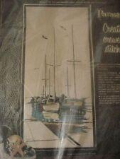 vintage crewel hand embroidery kit SAILBOATS 12x26 Paragon w/ wool yarn 1970s