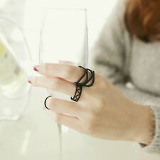 3X Lady Black Chic Punk Stack Plain Above Knuckle Ring Midi Finger Tip Rings Set