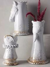Anthropologie Queen Goose, Knight, And Owl Vase With Gold Accents
