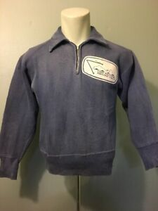 Vtg 50s 60s 1/4 Zip Blue Cotton Fleece Sweatshirt Mens XS-S Pullover Patch YMCA