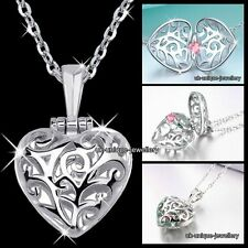 Silver Heart Ring Locket Crystal Necklace Pendant Chain Xmas Gifts For Her Women