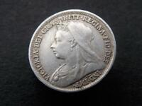 1897 Solid Sterling Silver Vintage Threepence Queen Victoria United Kingdom C083
