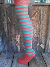 ~ SOCKS - 6 pair Multi-Stripe - 100% Cotton-Over the knee-MADE IN USA, Christmas