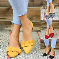 Women Ladies Fashion Pointed Toe Flat Solid Casual Loafers Single Shoes Size