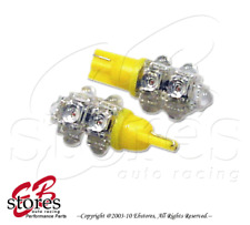 Set of 2pcs Yellow Front Side Marker 9 Flux LED Light Bulbs 168 194NA- T10 Wedge