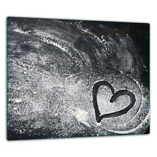Cooker Cover Plates Glass Ceramic Cover Glass Splashback 60x52cm Flour, Heart