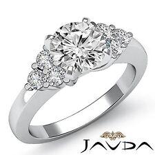 Round Prong Set Diamond Engagement 3 Stone Ring GIA F VS2 14k White Gold 1.3ct