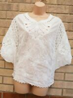 APRICOT FLORAL EMBROIDERED LACE CROCHET SHORT SLEEVE WHITE BLOUSE TOP M L