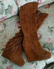 STEVE MADDEN Badgess Chestnut Suede Fringe Platform Over The Knee Boots Sz 6 M