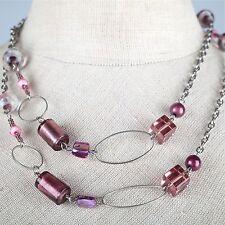 Lange Kette Halskette rosa Glasperlen Würfel Glas Kugelperlen 94 cm altrosa